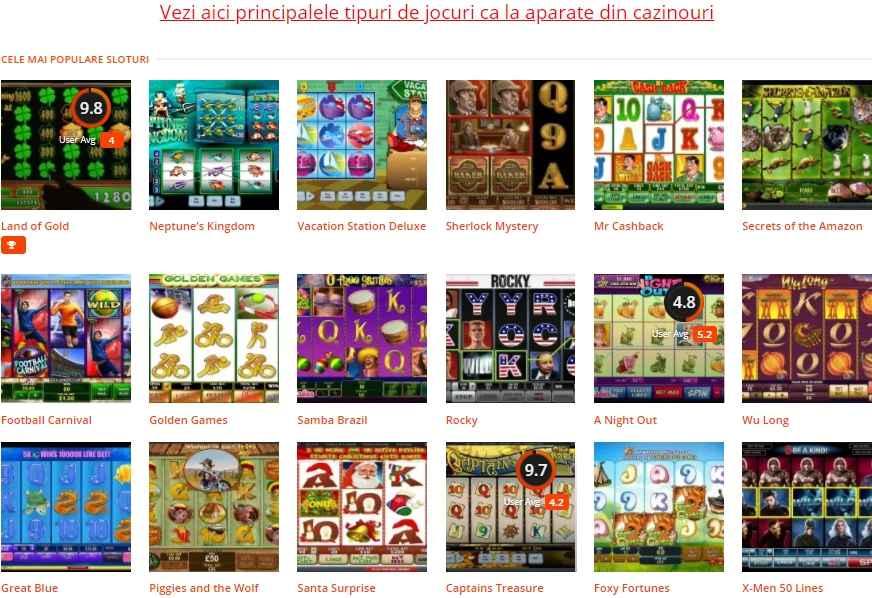 Lista de cele mai jucate jocuri ca la aparate online pe undepariem.com casino